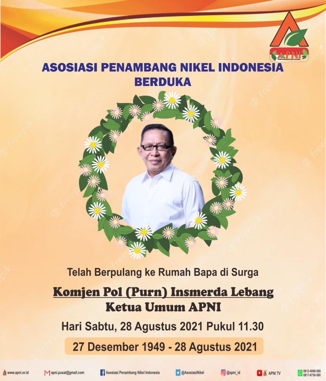 APNI Berduka. Ketua Umum Asosiasi Penambang Nikel Indonesia Berpulang